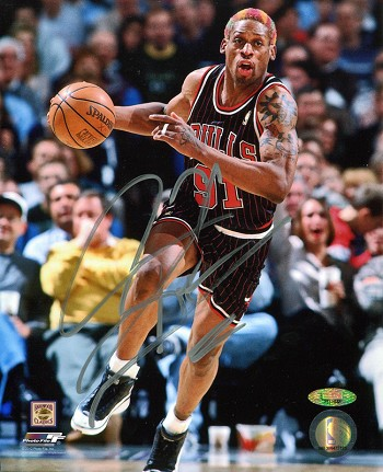 uk availability 9048d 641b9 Dennis Rodman Autographed Chicago Bulls Dribbling 8x10 Photo