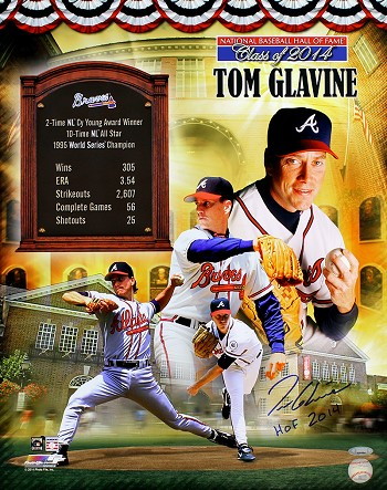 Tom Glavine Autographed Hall of Fame Collage 16x20 Photo Inscribed HOF 2014