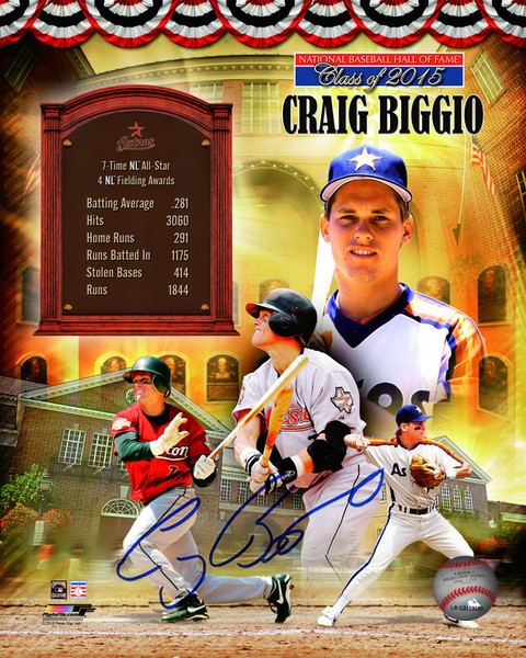 Craig Biggio Autographed Official Hall of Fame 8x10 Photo Collage