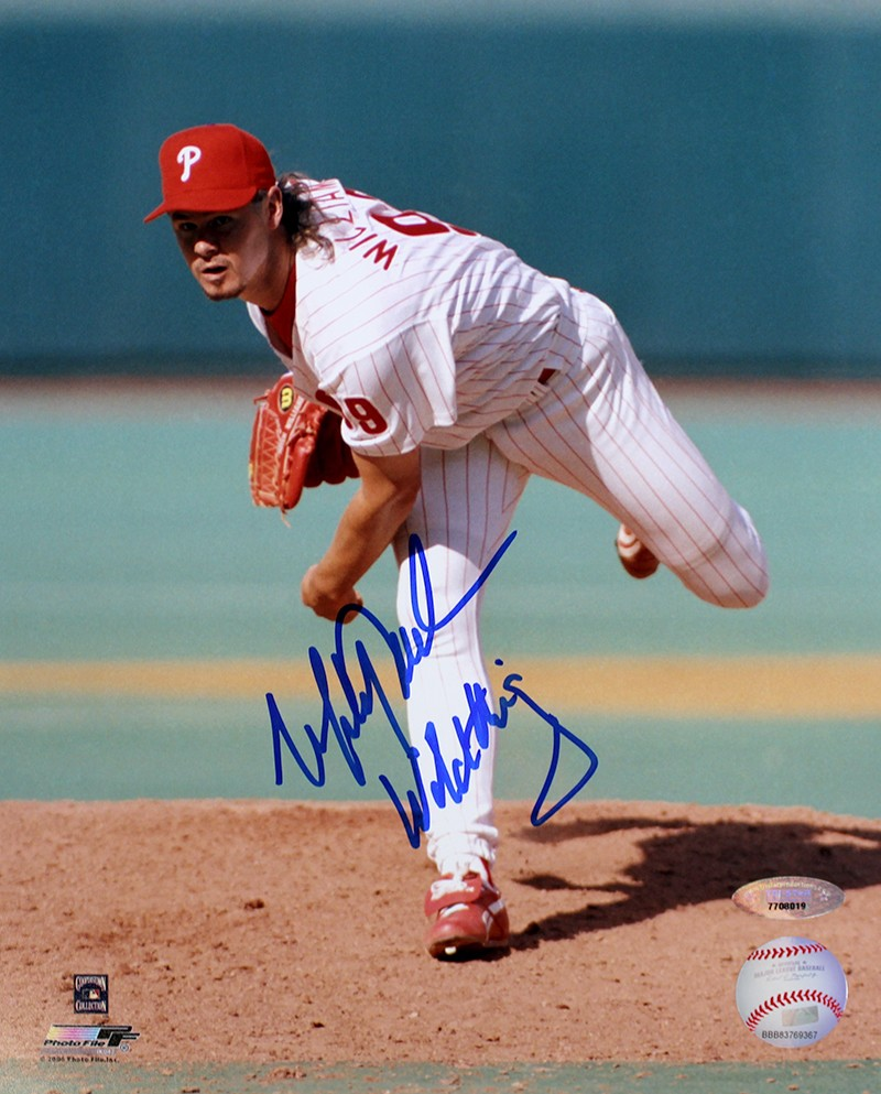Mitch Williams Autographed Philadelphia Phillies 8x10 Photo Inscribed Wild Thing