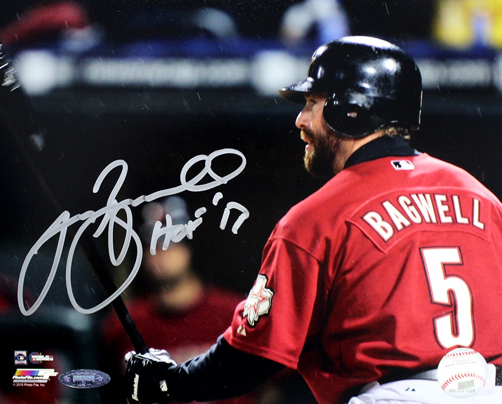 Jeff Bagwell Autographed Houston Astros 8x10 Photo Inscribed HOF 17